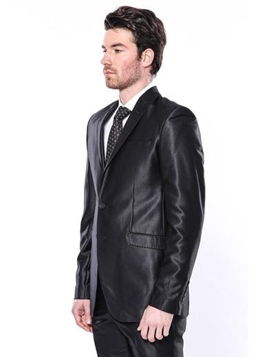 Wessi Erkek 8 Drop Parlak Slim Fit Takım Elbise Siyah